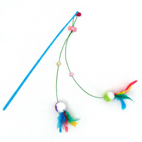 펫모닝 폼폼 깃털 트윈 낚싯대 색상랜덤 사진