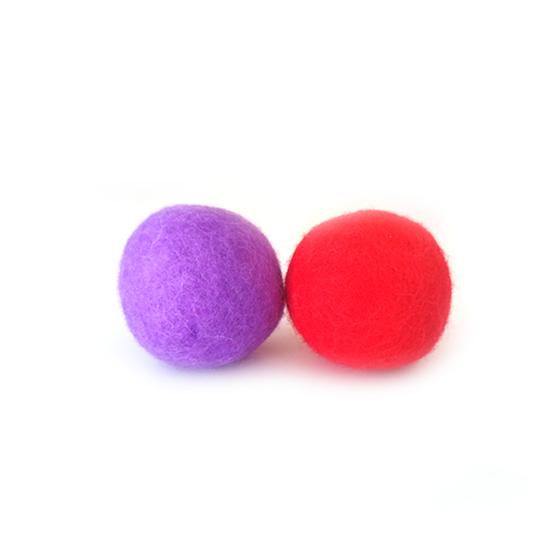 네이처펫 냥냥이 양모볼 4CM 2개입 레드&바이올렛 사진