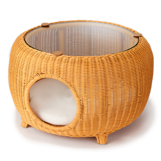 네코세카이 라탄 카페테이블 카멜 사진