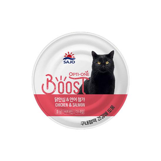 사조 옵티원 부스트 닭안심&연어 고양이 캔 160g 사진