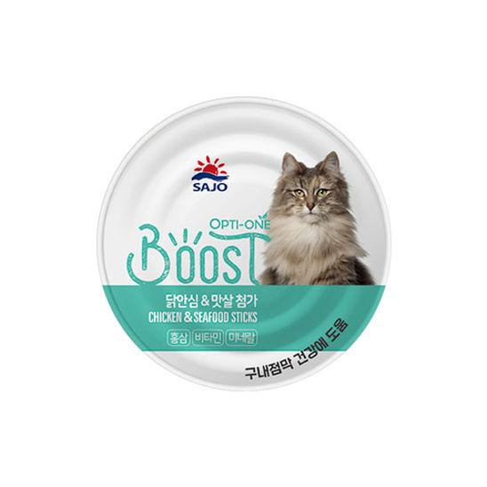 사조 옵티원 부스트 닭안심&맛살 고양이 캔 160g 사진
