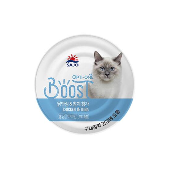 사조 옵티원 부스트 닭안심&참치 고양이 캔 160g 사진
